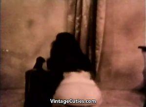 Perky Brunette Showing Hairy Vagina (1950s Vintage)